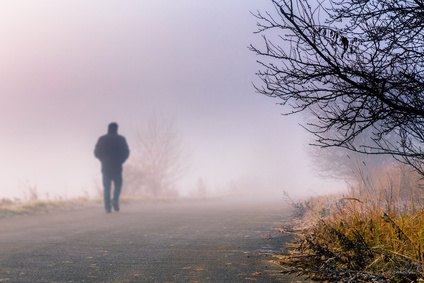 Man silhouette in the fog